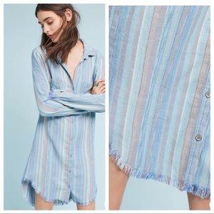 Cloth & Stone Raw Hem Shirt Dress Button Down EUC